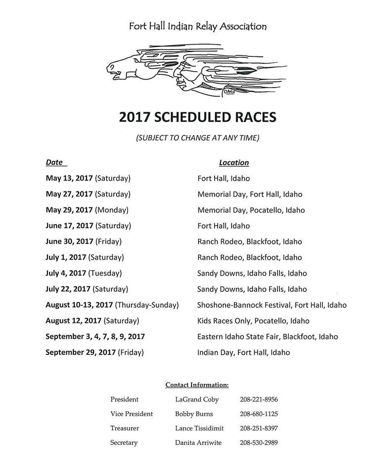 Indian Relay Schedule 2017